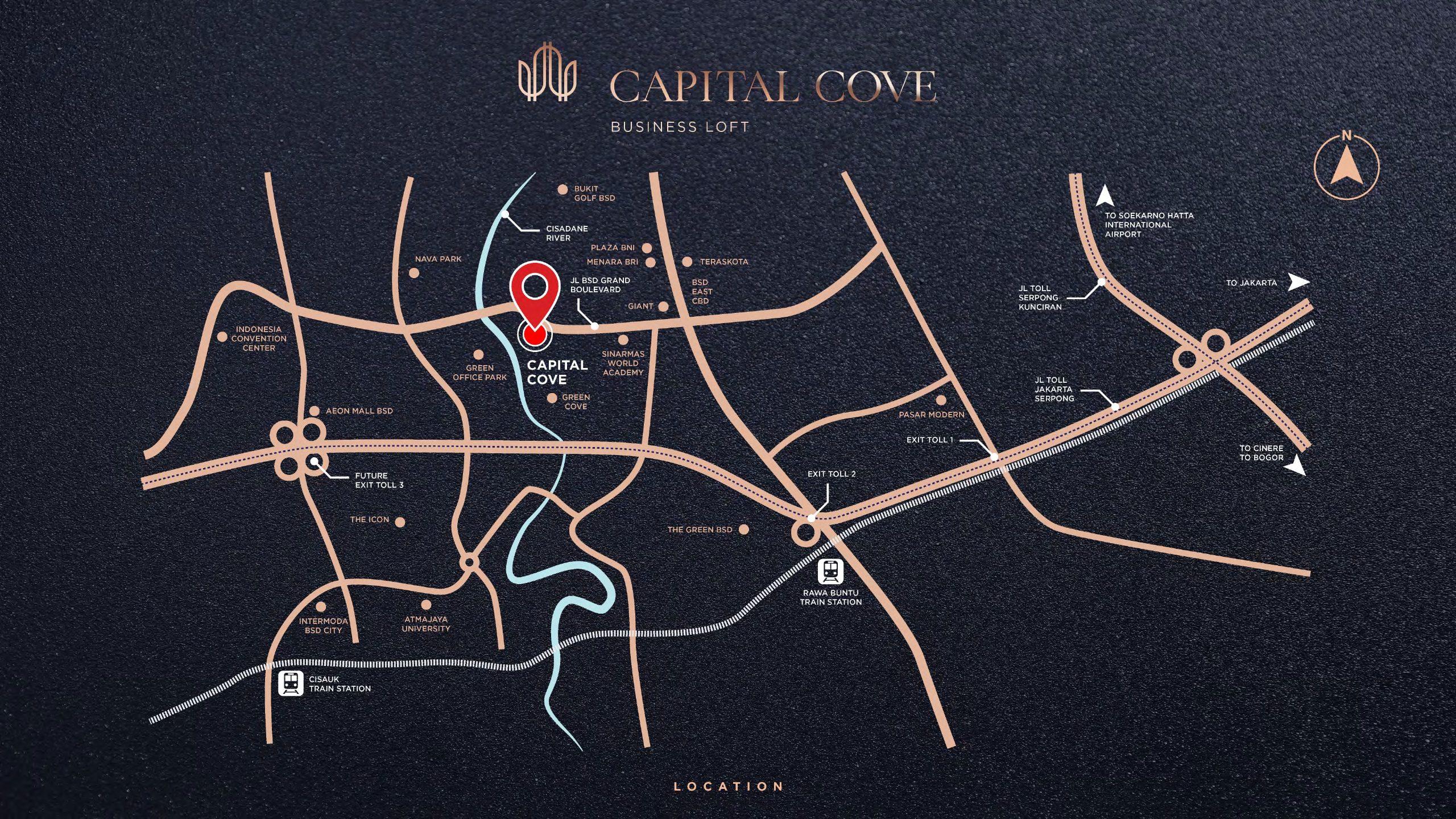 peta lokasi capital cove business loft bsd